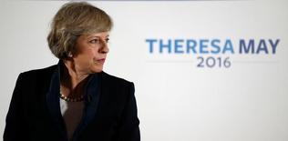 Глава МВД Великобритании Тереза Мэй выступает с речью в Бирмингеме. 11 июля 2016 года. Премьер-министр Великобритании Дэвид Кэмерон уйдет в отставку в среду, и в этот же день его преемник - нынешняя глава МВД Тереза Мэй - займет новый пост. REUTERS/Andrew Yates