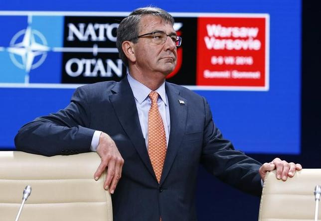 U.S. Defense Secretary Ash Carter is seen before the start of a working session at the NATO Summit in Warsaw, Poland July 9, 2016. REUTERS/Kacper Pempel