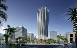 A computer generated image shows one of two project's designed by Zaha Hadid – a 70,000sqm building featuring a hotel and residential apartments – which is scheduled for completion in 2020 in Qatar's Lusail City Marina District. Zaha Hadid Architects/Handout via REUTERS