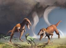 En la ilustración, dos dinosaurios Gualicho shinyae del período Cretásico cazan a un herbívoro más pequeño hace 90 millones de años en la Patagonia.  Courtesía de Jorge González y Pablo Lara/a través de REUTERS