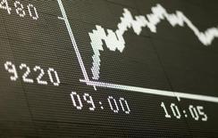 Динамика индекса DAX на табло фондовой биржи Франкфурта-на-Майне 24 июня 2016 года. Акции Европы поднялись до трехнедельного пика в четверг благодаря сырьевому сектору на фоне улучшения настроений, так как инвесторы ожидают, что Банк Англии понизит ставки для поддержки роста. REUTERS/Ralph Orlowski