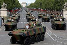 French 16th hunter battalion attend the Bastille Day military parade on the Champs Elysees in Paris. REUTERS/Benoit Tessier