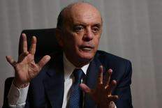 Brazilian Foreign Minister Jose Serra gestures during an interview with Reuters at the Itamaraty Palace in Brasilia, Brazil July 14, 2016. REUTERS/Adriano Machado