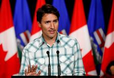 Prime Minister Justin Trudeau answers questions at a news conference during the Calgary Stampede in Calgary, Alberta, Canada July 15, 2016. REUTERS/Todd Korol -