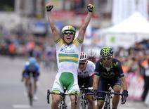 Simon Gerrans of Australia celebrates after winning the Liege-Bastogne-Liege Classic cycling race in Ans, near Liege April 27, 2014.  REUTERS/Laurent Dubrule