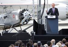 Dennis Muilenburg, Boeing Chairman, President and CEO, speaks during ceremonies marking the centennial of The Boeing Company in Seattle, Washington July 15, 2016.  REUTERS/Jason Redmond