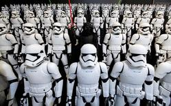 """Takara Tomy's figures of Kylo Ren (C) and Storm Troopers from """"Star Wars"""" are seen at the International Tokyo Toy Show in Tokyo, Japan June 9, 2016. REUTERS/Toru Hanai"""