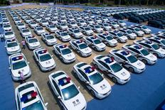 Police cars and other vehicles, which will serve during the upcoming G20 summit, are seen at a parking area in Hangzhou, Zhejiang province, China July 18, 2016. Picture taken July 18, 2016. REUTERS/Stringer