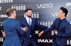 """Actors Chris Pine (L), Karl Urban and John Cho arrive for the world premiere of """"Star Trek Beyond"""" at Comic Con in San Diego, California U.S., July 20, 2016.  REUTERS/Mike Blake"""