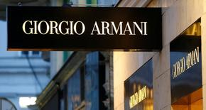 A company logo is pictured outside a Giorgio Armani store in Vienna, Austria, May 4, 2016.  REUTERS/Leonhard Foeger