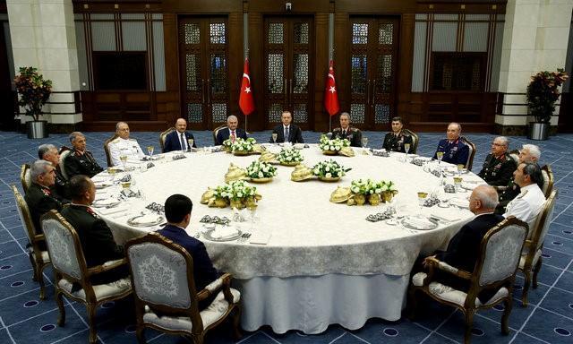 Turkeys President Tayyip Erdogan C Meets With Prime Minister Binali Yildirim 8th L Chief Of Staff General Hulusi Akar 7th R And The Members