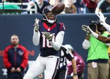 Nov 22, 2015; Houston, TX, USA; Houston Texans wide receiver DeAndre Hopkins (10) makes a touchdown reception during the third quarter against the New York Jets at NRG Stadium. Mandatory Credit: Troy Taormina-USA TODAY Sports