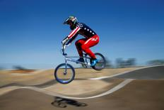 U.S. Olympic BMX athlete Connor Fields takes some air over rollers as he trains at the Olympic Training Center in Chula Vista, California, United States, July 23, 2016. REUTERS/Mike Blake