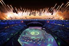 Fireworks explode during the opening ceremony     REUTERS/Pawel Kopczynski