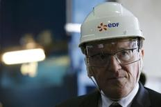 File photo of Jean-Bernard Levy, Chief Executive Officer of France's state-owned electricity company EDF, attends a visit at the Electricite de France (EDF) nuclear power station in Civaux, France, March 17, 2016. REUTERS/Stephane Mahe/File Photo