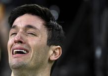 2016 Rio Olympics - Artistic Gymnastics - Preliminary - Men's Qualification - Subdivisions - Rio Olympic Arena - Rio de Janeiro, Brazil - 06/08/2016Diego Hypolito (BRA) of Brazil cries during the men's qualifications.  REUTERS/Dylan Martinez