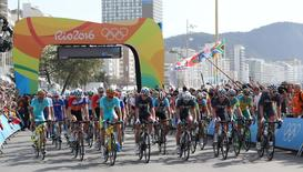 Largada do ciclismo em Cobacabana 6,/8/2016 Kevin Jairaj-USA TODAY Sports