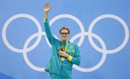 Nadador australiano Mack Horton comemora medalha de ouro conquistada nos Jogos Olímpicos Rio 2016 06/08/2016 REUTERS/David Gray