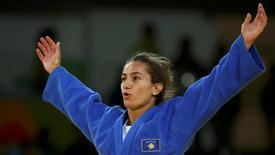 2016 Rio Olympics - Judo - Final - Women -52 kg Final - Gold Medal Contest - Carioca Arena 2 - Rio de Janeiro, Brazil - 07/08/2016. Majlinda Kelmendi (KOS) of Kosovo celebrates. REUTERS/Toru Hanai