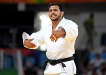 Aug 9, 2016; Rio de Janeiro, Brazil; Nacif Elias (LIB) protests after his match during men's judo 81kg round 32 in the Rio 2016 Summer Olympic Games at Carioca Arena 2. Mandatory Credit: John David Mercer-USA TODAY Sports