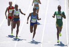 Caster Semenya of South Africa, Ajee Wilson of USA, Shelayna Oskan-Clarke of Britain and Wang Chunyu of China compete   REUTERS/David Gray