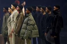 """Models present creations at Kanye West's Yeezy Season 3 Collection presentation and listening party for the """"The Life of Pablo"""" album during New York Fashion Week February 11, 2016. REUTERS/Andrew Kelly/File Photo"""