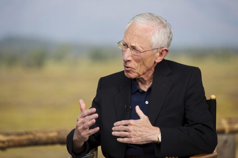 Federal Reserve Vice Chairman Stanley Fischer speaks during a televised interview during the Federal Reserve Bank of Kansas City's annual Jackson Hole Economic Policy Symposium in Jackson Hole, Wyoming August 28, 2015. REUTERS/Jonathan Crosby