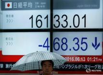 Мужчина проходит мимо экрана с котировкой индекса Nikkei в Токио 13 июня 2016 года. Японские акции упали до минимума трёх недель в пятницу под давлением снижения Уолл-стрит и из-за настороженности инвесторов перед выступлением главы ФРС Джанет Йеллен, однако сообщения ряда компаний об обратном выкупе акций подстегнули покупку. REUTERS/Issei Kato