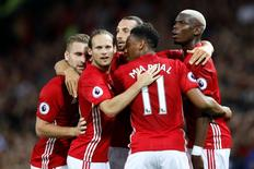 Manchester United's Zlatan Ibrahimovic celebrates with team mates after scoring their first goal. Manchester United v Southampton - Premier League - Old Trafford - 19/8/16. Reuters / Darren Staples
