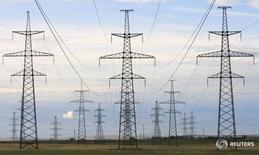 ЛЭП в Хакасии 24 июня 2008 года. Чистая прибыль региональной энергокомпании Иркутскэнерго, входящей в принадлежащий Олегу Дерипаске холдинг Евросибэнерго, в первом полугодии текущего года осталась на уровне того же периода годом раньше - 7,3 миллиарда рублей. REUTERS/Ilya Naymushin