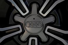 An Audi logo is displayed on a tyre during a promotional event in Hong Kong, China August 31, 2016.      REUTERS/Bobby Yip