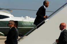 Obama embarca no Air Force One. 31/8/2016. REUTERS/Jonathan Ernst