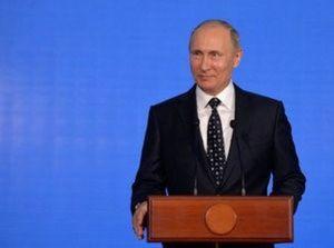 Russian President Vladimir Putin delivers a speech at an oceanarium on Russky Island before attending the Eastern Economic Forum in Vladivostok, Russia, September 3, 2016. Sputnik/Kremlin/Alexei Druzhinin/via REUTERS