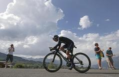 Movistar Team rider Nairo Quintana of Colombia cycles during the individual time trial. REUTERS/Jacques Clawey