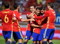 Football Soccer - Spain v Liechtenstein - World Cup 2018 Qualifying European Zone - Group G- Reino de Leon stadium, Leon, Spain - 5/9/16 Spain's David Silva (3rd R) celebrates his goal with teammates. REUTERS/Eloy Alonso