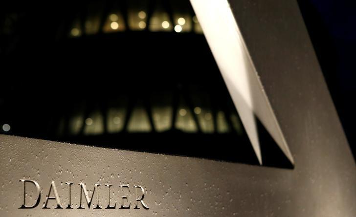 A Daimler sign name is pictured during the company's annual news conference in Stuttgart, Germany, February 4, 2016. REUTERS/Michaela Rehle/File photo