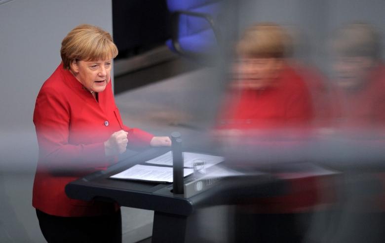 German Chancellor Angela Merkel, speaks during a meeting at the lower house of parliament Bundestag on 2017 budget in Berlin, Germany, September 7, 2016. REUTERS/Stefanie Loos