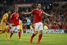 Wales' Gareth Bale celebrates scoring their fourth goal from the penalty spot. Wales v Moldova - 2018 World Cup Qualifying European Zone - Group D - Cardiff City Stadium, Cardiff, Wales - 5/9/16. Action Images via Reuters / John Sibley Livepic