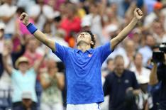 Sep 7, 2016; New York, NY, USA; Kei Nishikori of Japan celebrates after recording match point against Andy Murray of Great Britain on day ten of the 2016 U.S. Open tennis tournament at USTA Billie Jean King National Tennis Center. Mandatory Credit: Jerry Lai-USA TODAY Sports