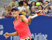 Sept 8, 2016; New York, NY, USA;  Angelique Kerber of Germany plays against Caroline Wozniacki of Denmark on day eleven of the 2016 U.S. Open tennis tournament at USTA Billie Jean King National Tennis Center. Robert Deutsch-USA TODAY Sports