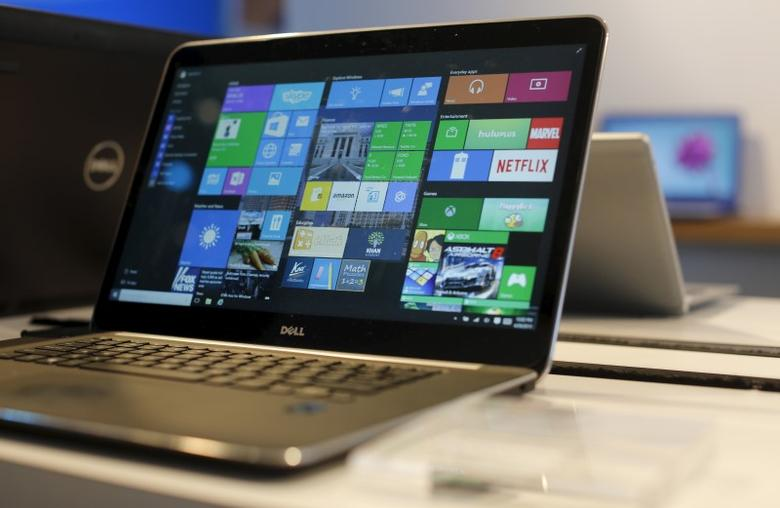 A laptop computer featuring Windows 10 is seen on display at Microsoft Build in San Francisco, California April 29, 2015. REUTERS/Robert Galbraith - RTX1AVL0