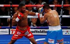 Britain Boxing - Gennady Golovkin v Kell Brook WBC, IBF & IBO World Middleweight Titles - The O2 Arena, London - 10/9/16 Gennady Golovkin in action with Kell Brook Action Images via Reuters / Peter Cziborra Livepic