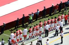 Sep 11, 2016; Kansas City, MO, USA; Players  stand for the national anthem before the game between the Kansas City Chiefs and San Diego Chargers in the first half at Arrowhead Stadium. Mandatory Credit: John Rieger-USA TODAY Sports