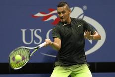 Sep 3, 2016; New York, NY, USA; Nick Kyrgios of Australia hits a forehand against Ilya Marchenko of Ukraine (not pictured) on day six of the 2016 U.S. Open tennis tournament at USTA Billie Jean King National Tennis Center. Mandatory Credit: Geoff Burke-USA TODAY Sports