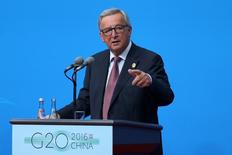 European Commission President Jean-Claude Juncker speaks during a press conference ahead of G20 Summit in Hangzhou, Zhejiang province, China, September 4, 2016. China Daily/via REUTERS