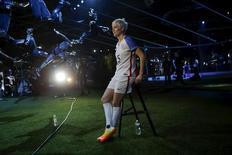 U.S. women's soccer team midfielder Megan Rapinoe speaks to the media during a Nike unveiling event in New York, March 17, 2016. REUTERS/Eduardo Munoz