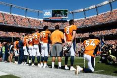 Sep 18, 2016; Denver, CO, USA; Denver Broncos inside linebacker Brandon Marshall (54) kneels during the National Anthem prior to the game against the Indianapolis Colts at Sports Authority Field at Mile High. Mandatory Credit: Isaiah J. Downing-USA TODAY Sports