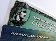 American Express and American Express corporate cards are pictured in Encinitas, California October 17, 2011.  REUTERS/Mike Blake/File Photo