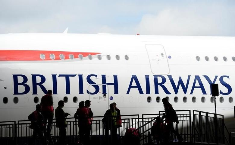 British Airways' new Airbus A380 arrives at a hanger after landing at Heathrow airport in London July 4, 2013.  REUTERS/Paul Hackett/File Photo