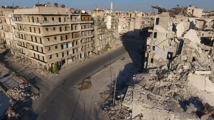 A still image taken on September 27, 2016 from a drone footage obtained by Reuters shows damaged buildings in a rebel-held area of Aleppo, Syria. Handout via Reuters TV